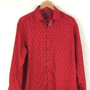 Black Label By Ruffini Italy Red Floral Shirt Slim